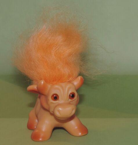 "Vintage Dam Things Troll Cow Doll Pet 2 1/4"" tall 3"" long Orange Eyes/Hair 1964"