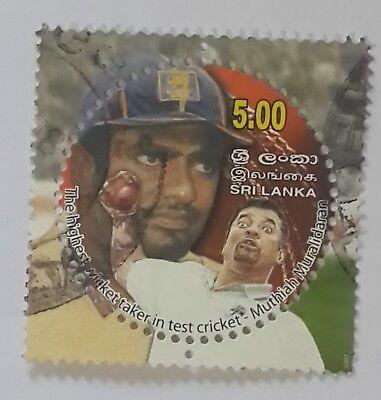 Sri Lanka Round Stamp of Muthiah Muralidaran Sri Lanka Cricket