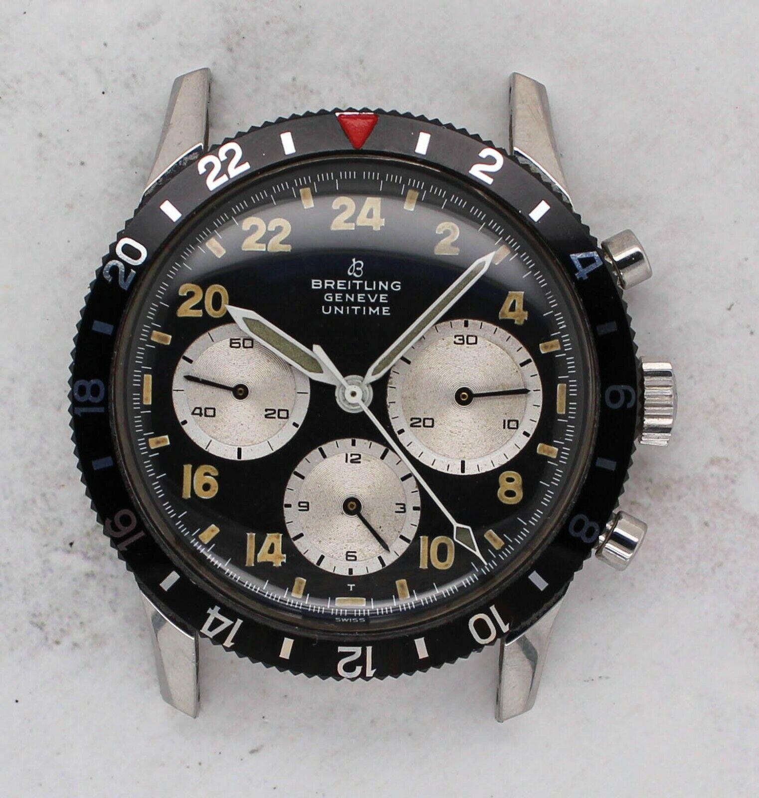 Vintage Breitling Unitime Chronograph Wristwatch Ref. 1765 Venus 178 Rare 40mm - watch picture 1