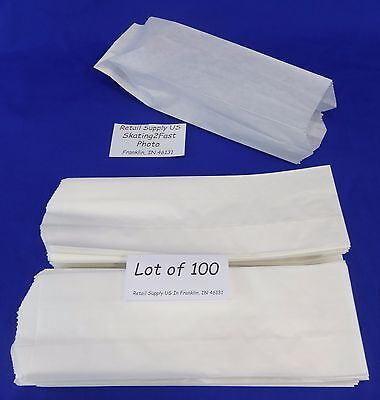 Qty 100 Hot Dog Paper Bags Concession Machine Supplies 3 X 2 X 8.75
