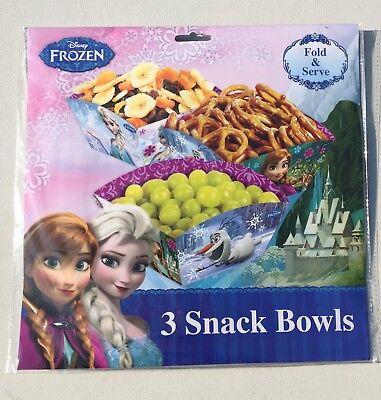 Disney Frozen Birthday Party Supplies 3-Fold & Serve Snack Bowls 5.5