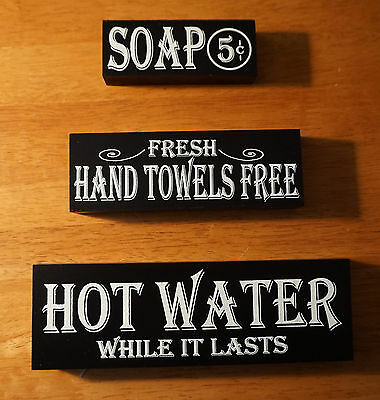 Set of 3 Vintage Style Bathroom SOAP HOT WATER TOWELS Wood Block Decor Signs NEW