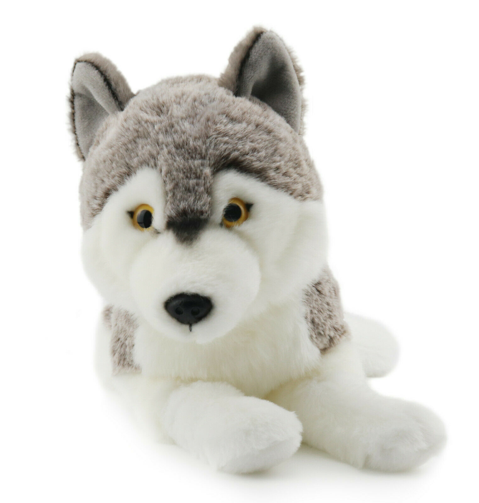 Lifelike Siberian Wolf Stuffed Animal Plush Toy 16 Inches -