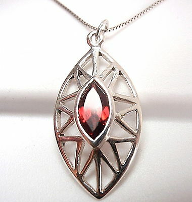 Faceted Garnet Marquise Pendant 925 Sterling Silver Cut Gemstone Stone New