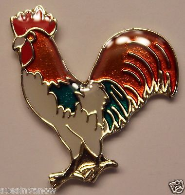 New White Rooster Lapel Pin Farm Animal Tie Tack Barnyard Cock Poultry Hen