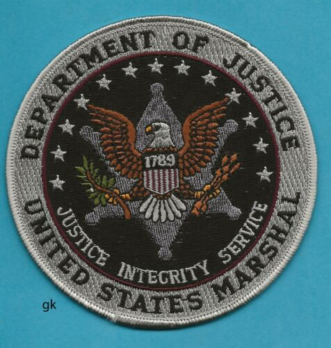 """US MARSHAL DEPT OF JUSTICE  POLICE SHOULDER PATCH 4 1/2""""  Subdued  Black / Gray"""