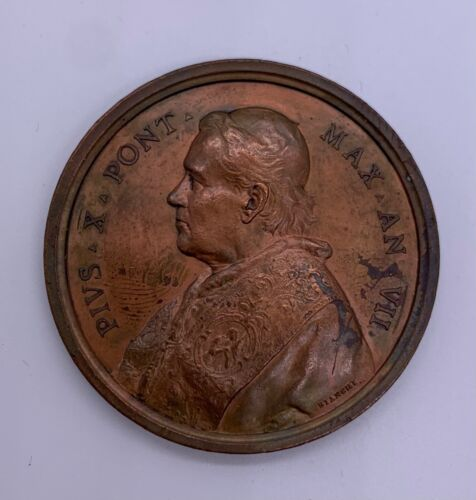 Italy, Papal State. Pio X (1903-1914). Bronze medal Anno VII AE 43 mm