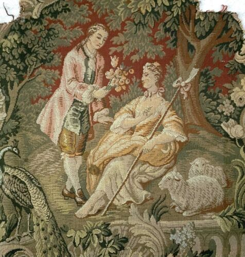 """(3)MATCHING Antique VICTORIAN Needlepoint Embroidery- COURTING SCENE- 24"""" x 24"""""""