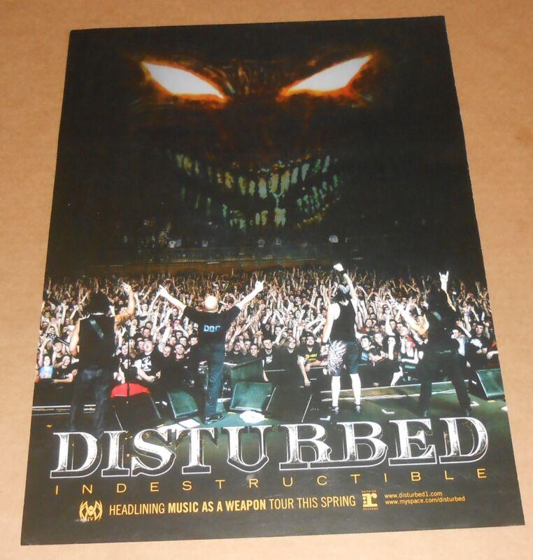 Disturbed Indestructible Poster Original Promo 20x15 RARE