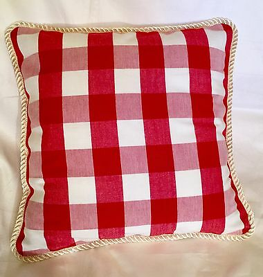 Provence French Fatherland Cottage Pillow Cushion Plaid Check Red White Buffalo