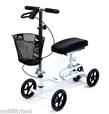 Knee Scooter Walker Foldable Leg Crutch Brakes Karman KW-100-WT White NEW
