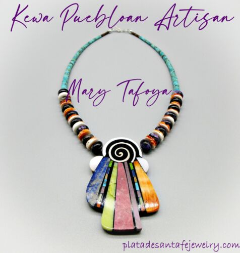 Kewa Pueblo-MARY TAFOYA-Charoite/Spiny Oyster-Mosaic ABSTRACT ANGEL Necklace