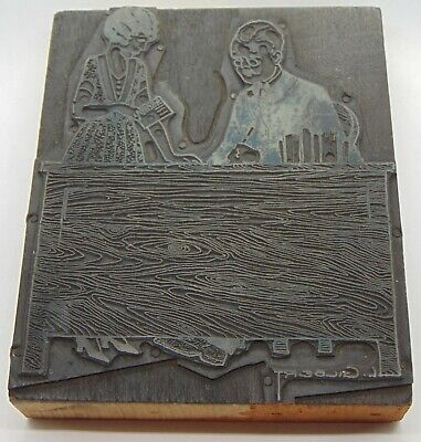 Vintage Printing Letterpress Printers Block Man Woman Working Desk