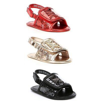 MICHAEL Michael Kors Girls' Baby Gear Slide Crib Shoes Sandals Red Black Gold (Infant Michael Kors)