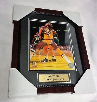 Boston Celtics LA Lakers Larry Bird vs Magic Johnson Framed Picture 13x16 Size