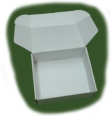 25 White Plain Cardboard Boxes  Used Once Product Packing Shipping Die Cut