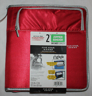 New Five Star Zipper Binder 2 5 Pocket Expanding File Red 580 Sheet Capacity