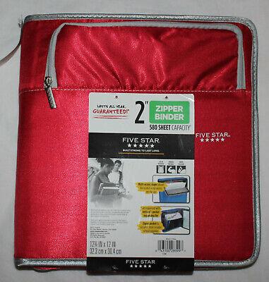 New Five Star Zipper Binder 2 5 Pocket Expanding File Red 580 Sheet Capacity