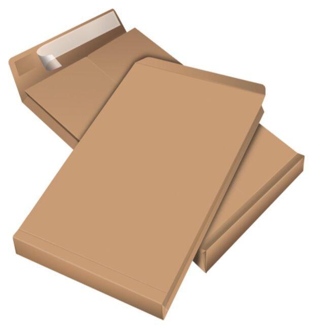 .Faltentaschen DIN B4 oder C4,Versandtaschen mit Klotzboden, Braun, ohne Fenster