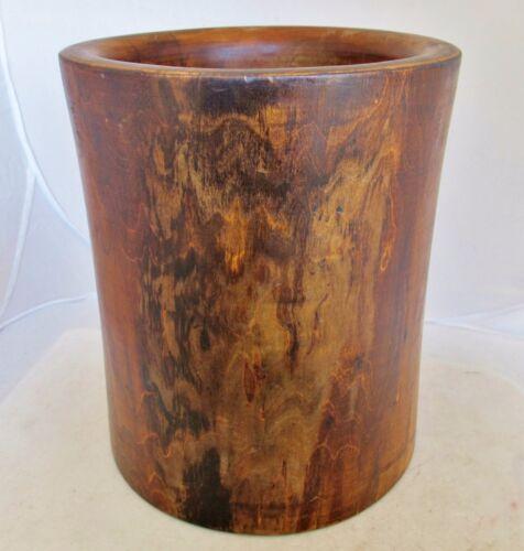 "Vintage ? Big Chinese Wood Brush Pot  (10"")"