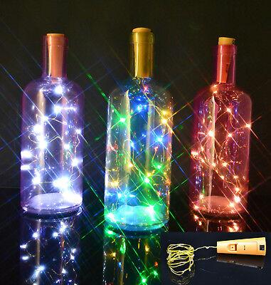 Bottle Stopper Fairy String Lights Wine/Gin Battery Cork Shaped Top 8/20 LEDs Cork Top
