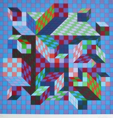 VICTOR VASARELY Sirt-MC 1978 HAND SIGNED LIMITED EDITION Silkscreen Framed - $1,290.00