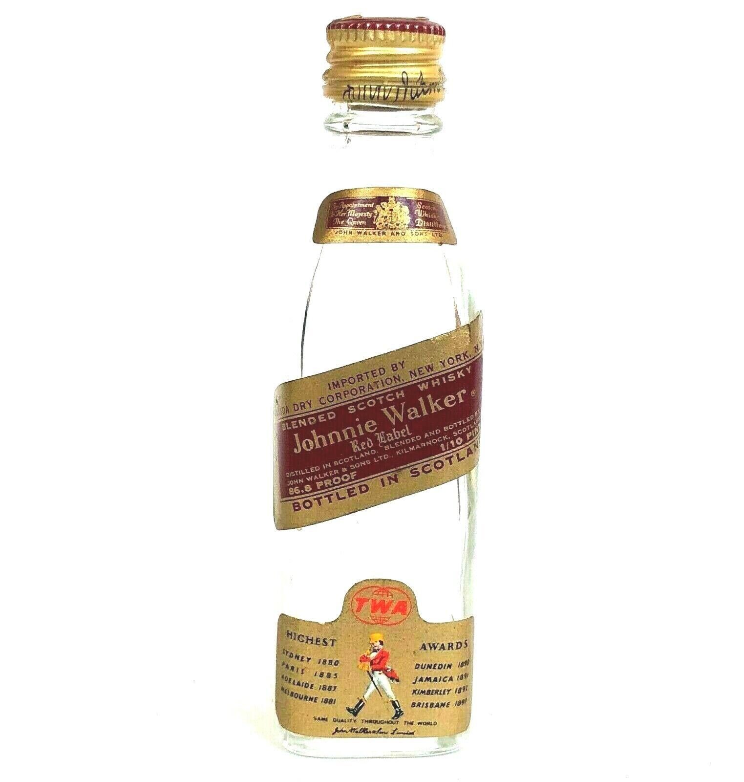 Vtg TWA Johnnie Walker Miniature Bottle Airline Bottled Scotland 1/10 Pint Empty