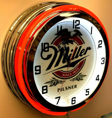 "19"" Miller Pilsner Beer Double Neon Clock Red Neon Man Cave Garage"