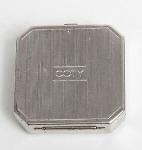 COTY-ANTIQUE-MAKEUP-POWDER-COMPACT-VINTAGE-SILVER-MIRROR-CASE