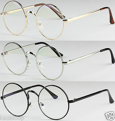 Unisex Round Metal Frame Clear lens Vintage Retro Geek Fashion Glasses Specs
