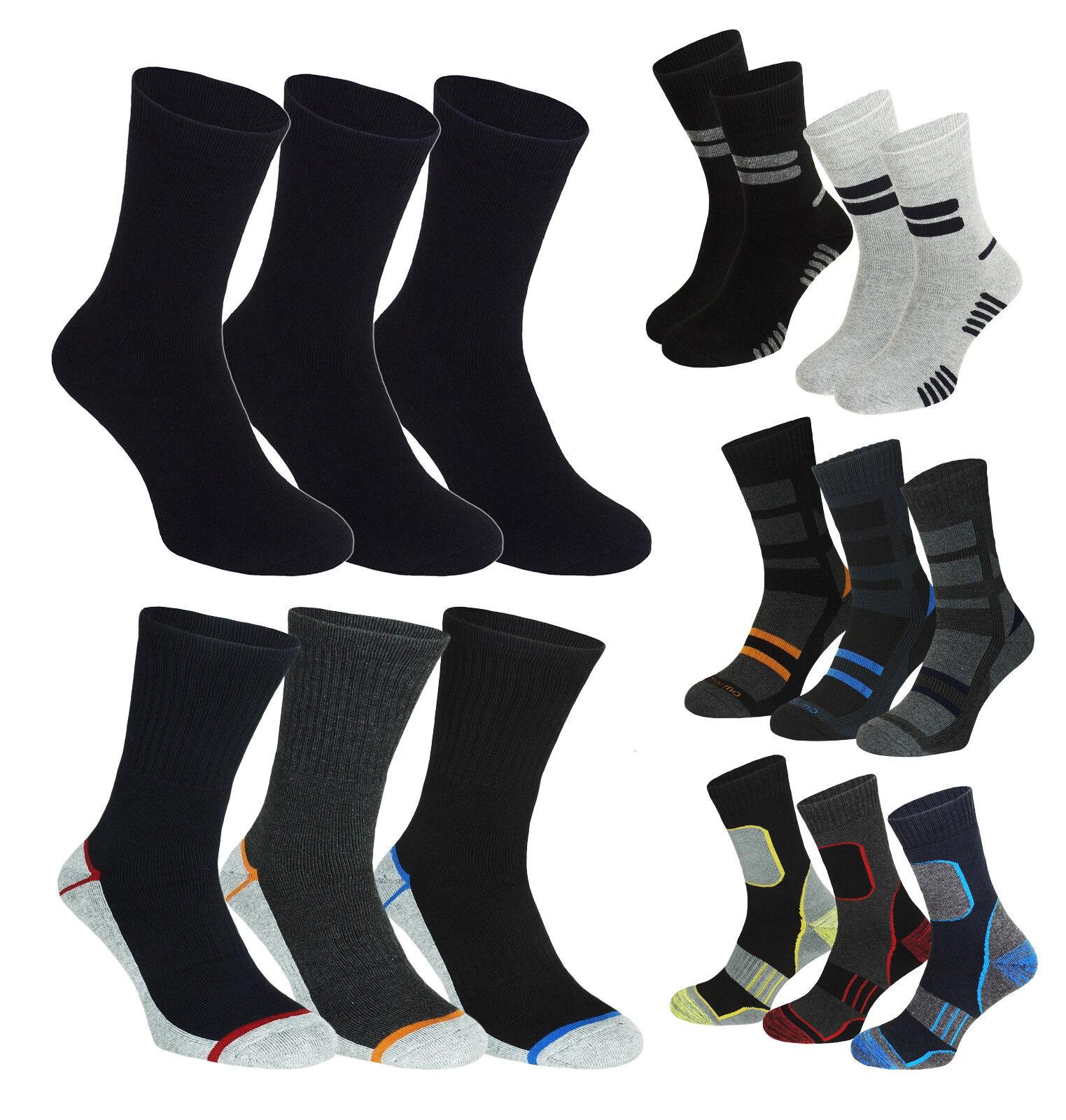 12-24 Paar Thermo Socken Warme Arbeit Winter Socken Ski Herren Damen Schwarz NEU