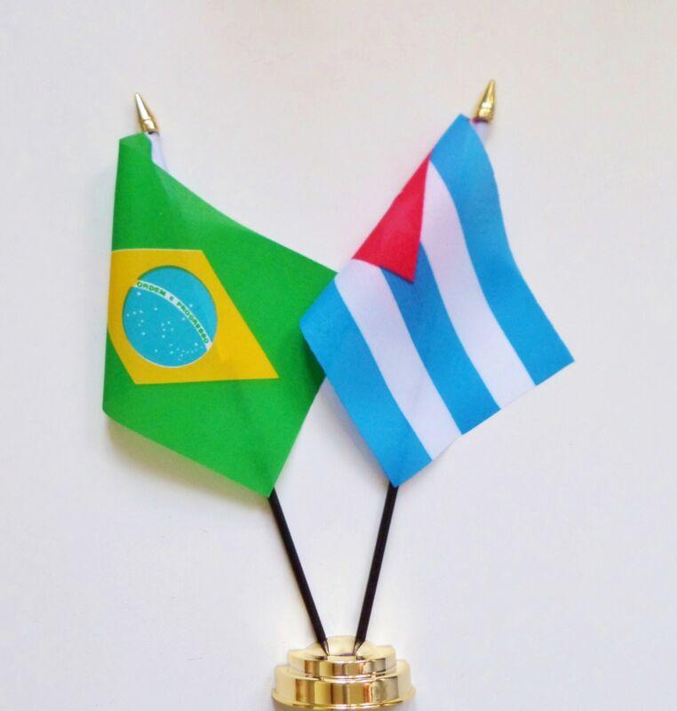 Brazil & Cuba Double Friendship Table Flag Set