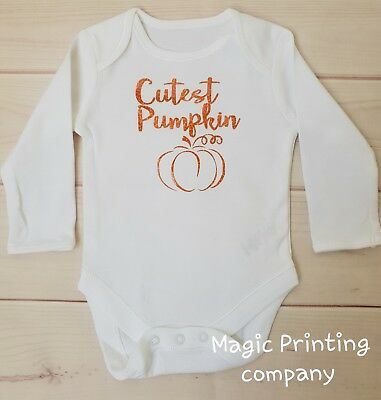 Cutest Baby Halloween Costume (Cutest Pumpkin Baby 1st Halloween Vest Bodysuit Outfit Costume Newborn Gift)