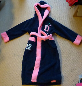 NWT Target Girls Navy Pink Embroidered Hooded Fleece Dressing Gown Size 7