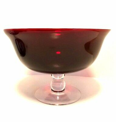 Three Wick Glass - PartyLite Ruby Red Three Wick Candle Holder Clear Footed Bowl 7.5 x 11 inches