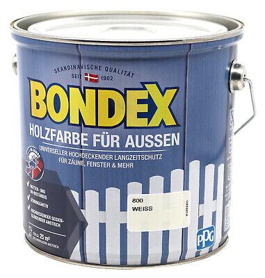 Bondex Holzfarbe für Aussen weiss 2,5L Deckfarbe Wetterschutzfarbe