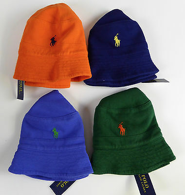 Polo Ralph Lauren 100% Cotton Mesh Bucket Hat Cap w/ Embroidered Pony NWT $49.50