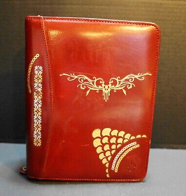 Franklin Covey Red Leather 7 Ring Planner Binder Gold Hand Painted Design