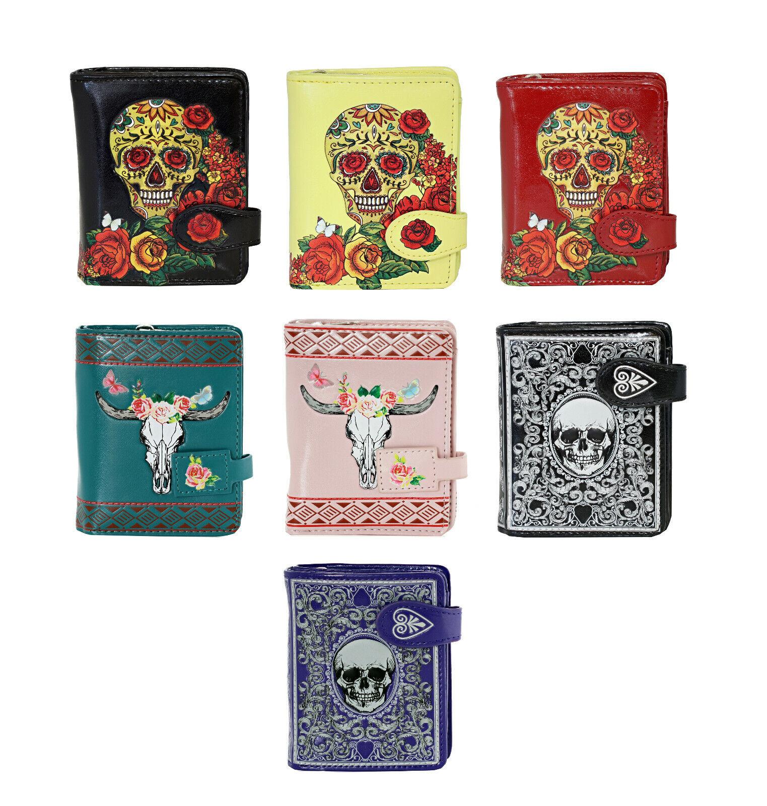 skull themed women s small zipper bifold