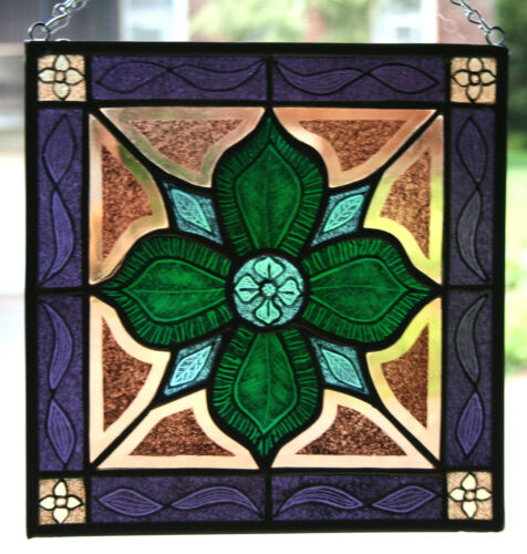 Stained Glass,Hand Painted,Kiln Fired Traditional Design Panel # 2500-05
