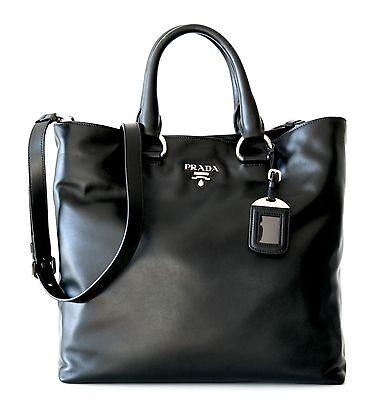 Prada Tote Shoulder Leather Bag Shopper Black New