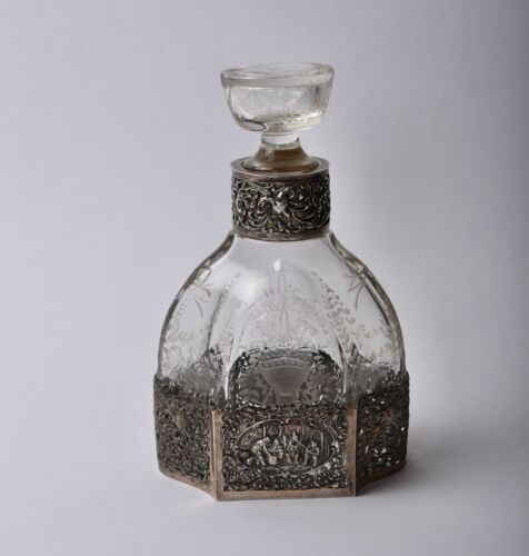 """ANTIQUE ENGRAVED GLASS & DUTCH SILVER DECANTER EARLY 20TH CENTURY 9"""" TALL"""