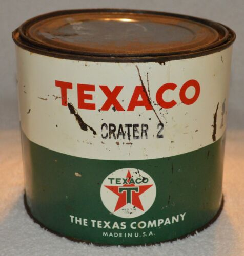 VINTAGE TEXACO CRATER 2 GREASE TIN 5 LBS RARE FIND