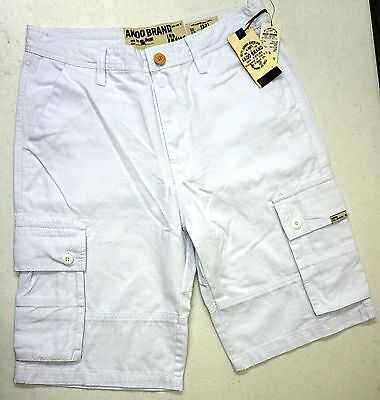 With Tags Akoo Brand Cargo Shorts Mens Size 32 34 36 Whit...
