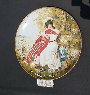 """Old Red Raven Splits. 24"""" Large Charger Tray. Chas W. Shonk. 1891-1902"""