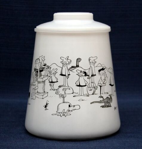 BC Cookie Jar Bartlett Collins Frosted Glass w/Lid ~ Grog ~ 70s Comic Strip B C