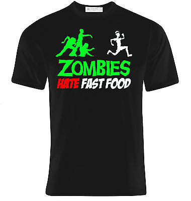 Zombie Halloween Food Ideas (T-Shirt uomo Zombies hate fast food, zombie divertente, idea)