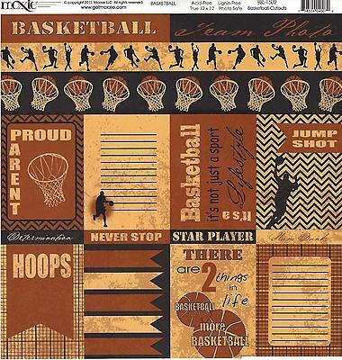 Basketball Cutouts (Moxxie - Basketball Cutouts Scrapbooking Paper - 1502 - Hoops Jump)