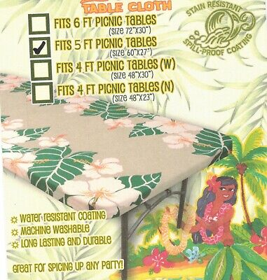 "Hawaiian Fitted Picnic Tablecloth Fits 5 foot  60x27"" picnic table Luau party  for sale  Shipping to India"