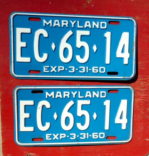 1960 Maryland Nice Original PAIR  EC-65-14  License Plates